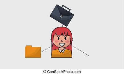 human resources people - business woman employee briefcase...