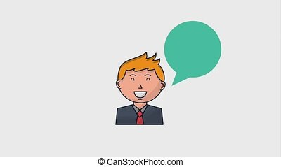 human resources people - businessman portrait with talk...