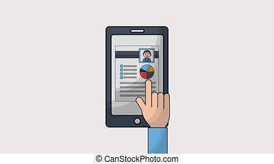 human resources people - hand with smartphone human...