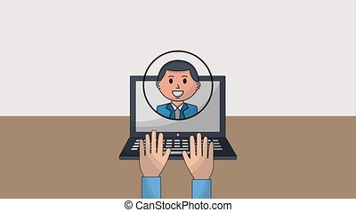 human resources people - hands working in laptop people team...