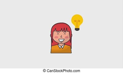 human resources people - happy businesswoman and bulb idea...