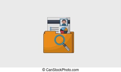 human resources people - human resources folder magnifying...
