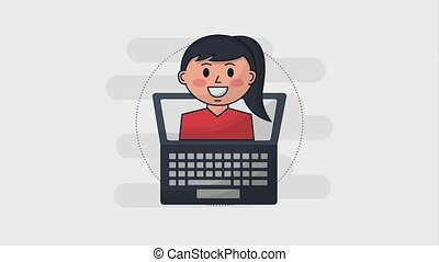 human resources people - laptop and business woman character...