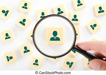 Human resources, personal audit and assessment center concept - recruiter look for employee represented by icon.