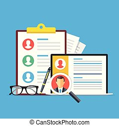 Human resources, recruitment. Clipboard with list of candidates, pen, glasses and laptop with cv, resume and magnifying glass. HR, employee search concepts. Flat design. Vector illustration