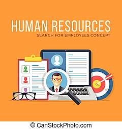 Human resources. Search for employees. Flat design graphic elements set. Modern concepts for web banners, websites, infographics, printed materials. Vector illustration