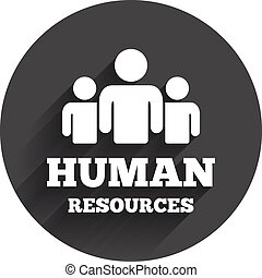 Human resources sign icon. HR symbol. Workforce of business organization. Group of people. Circle flat button with shadow. Modern UI website navigation. Vector