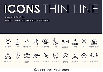 HUMAN RESOURCES Thin Line Icons - Set of HUMAN RESOURCES...