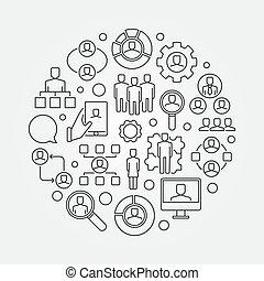Human resources thin line illustration