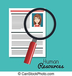 human resources woman search choose curriculum