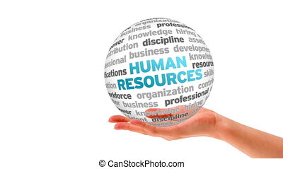 A person holding a 3d human resources word sphere