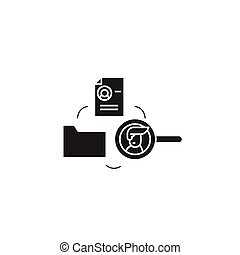 Human resourse database black vector concept icon. Human...