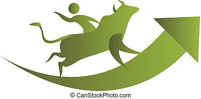 human riding on a bull