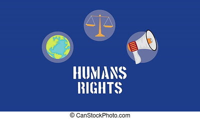 human rights animation with set icons
