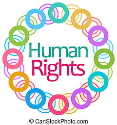 Human rights text over white background with colorful graphical element.