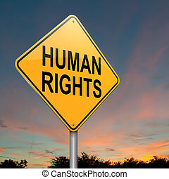 Illustration depicting a roadsign with a human rights concept. Dusk sky background.