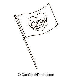 human rights on flag isolated icon vector illustration...