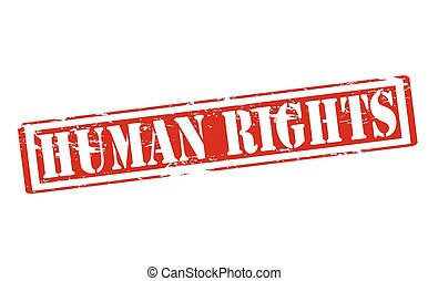 Human rights - Rubber stamp with text human rights inside,...