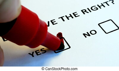 Human rights, voting on a piece of paper