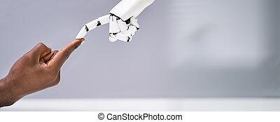 human, robô, dedo, tocar