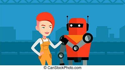 human., robot, competición, entre