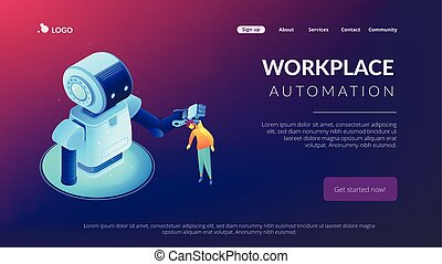 Human-robot interaction isometric 3D landing page.