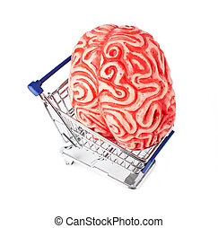 Human rubber brain in the shopping cart