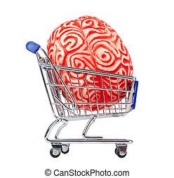 Human rubber brain in the shopping cart