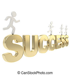 Human running figures over the word Success