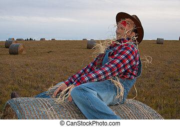 Human scarecrow playfully riding a haybale.