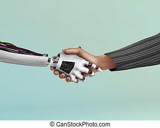 human., schüttelnd, roboter, hand