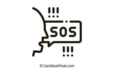 human screaming sos Icon Animation. black human screaming sos animated icon on white background
