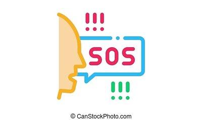human screaming sos Icon Animation. color human screaming sos animated icon on white background