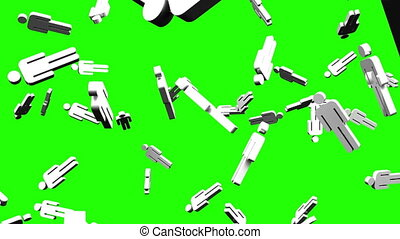 Human shaped objects on green chroma key. Loop able 3DCG...