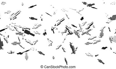 Human shaped objects on white background. Loop able 3DCG...