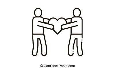 Human Share Heart Icon Animation. black Human Share Heart animated icon on white background