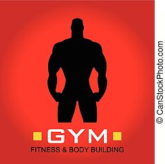 Body builder - human silhouette. Body builder. Silhouette of...