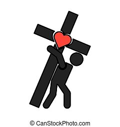 Human silhouette carrying the cross