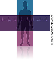 Human silhouette in the cross shape, normal sinus heart rhythm