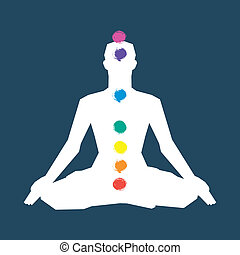 Human silhouette in yoga pose with chakras