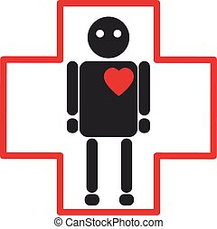 Human silhouette medical icon of he
