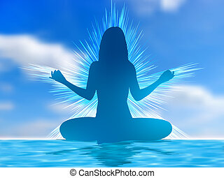 Human silhouette meditating over sky background. EPS 8 vector file included