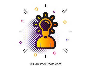 Human silhouette with Idea lamp icon. Vector