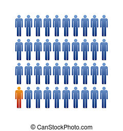 Human silhouettes background with one in different color,...