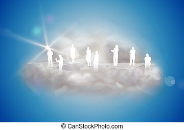 Human silhouettes on a floating cloud with app icons on blue...