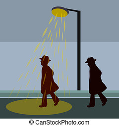 Human silhouettes, outside the light and under the light of a street lamp