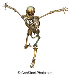 Human Skeleton - 3D digital render of an old running human...