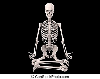 human skeleton - 3d rendered illustration of a sitting...