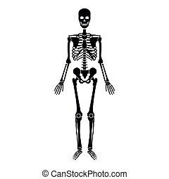 Human skeleton icon black color illustration flat style simple image
