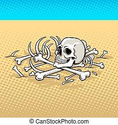 Human skeleton in the desert pop art vector